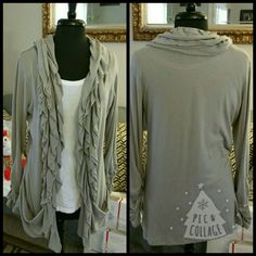 "Ruffled Cardigan This is a beautiful and fun light gray cardigan with ruched sleeves and 2 slouchy pockets.  Has a little extra length @ 30""  65%polyester, 30%rayon, 5%spandex gives it a nice feel with a good stretch Only wore once *Price Reduced* Studio Y Sweaters Cardigans"