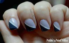 Purple diagonal manicure using Zoya and China Glaze
