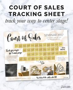 Mary Kay Court of Sales Tracking Sheet! Track your way to the stage! Find it only at www.thepinkbubble.co!
