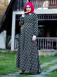Romantik Puanlı Elbise - Siyah-Beyaz - Mustafa Dikmen