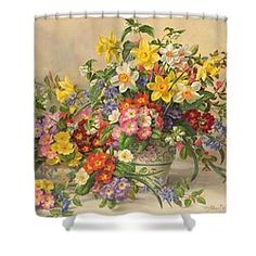 Spring Flowers And Poole Pottery Shower Curtain by Albert Williams
