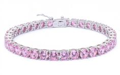 Check out this Pink Cubic Zirconia Bracelet Sterling Silver .925 Round Shape 14.5ct on BriskSale: