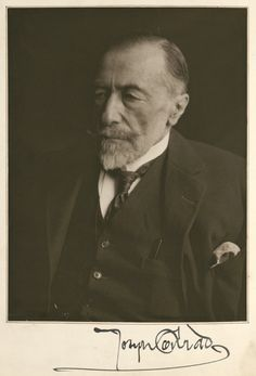 Signed portrait of Joseph Conrad, from a handwritten manuscript of Christmas Day at Sea (1923) Photograph: Harry Ransom Center at the University of Texas at Austin