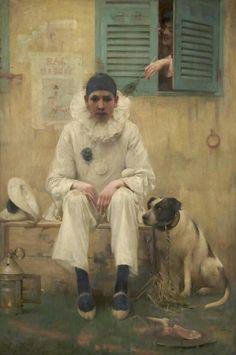Ethel Wright (1866-1939) - Bonjour Pierot, oil on canvas,