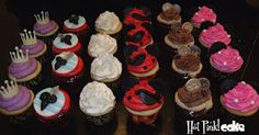 Disney Pirates & Princess Cupcakes  Princess crowns, pirate swords, glass sparkled slipper, pirate mickey with an eye patch, gold coins, and priness mini