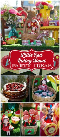 A Little Red Riding Hood girl birthday party with rustic decorations and fun treats! See more party planning ideas at CatchMyParty.com!