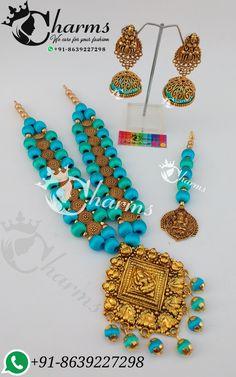 Silk thread antique sets Silk Thread Bangles Design, Silk Thread Necklace, Beaded Necklace Patterns, Jewelry Patterns, Fancy Jewellery, Thread Jewellery, Handmade Necklaces, Handmade Jewelry, Thread Chains