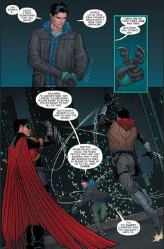 Dick Grayson (Nightwing) explaining to Tim Drake (Red Robin) & Jason Todd (Red Hood) why his (Dick's) death was faked. I Am Batman, Batman Comic Art, Batman Robin, Marvel Dc Comics, Superman, Gotham Batman, Dorkly Comics, Nightwing, Batgirl