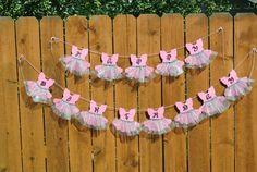 Artículos similares a Pink Tutu Happy Birthday Banner Bunting en Etsy Baby Shower Parties, Baby Shower Themes, Baby Shower Decorations, Birthday Decorations, Baby Shower Gifts, Baby Gifts, Ballerina Birthday Parties, Ballerina Party, Baby Birthday