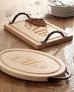 Monogram cutting board. Great hostess gift but also great for a newlywed's first Christmas.
