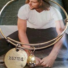 """Karma silver bangle bracelet Handcrafted  expandable silver bangle bracelet with a charm stamped with """"KARMA"""" and a white pearl Jewelry Bracelets"""
