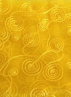 Yellow Spiral Ribbon Embroidered Organza 108 Inch fabric by the yard, 1 yard