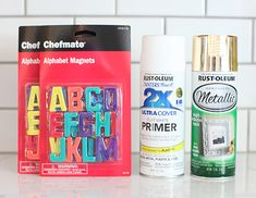 Create a festive project with Rust-Oleum Metallic Spray Paint Rustoleum Spray Paint, Metallic Spray Paint, Metallic Gold, Alphabet Magnets, Magnetic Letters, Diy Crafts And Hobbies, Diy And Crafts, Paint Refrigerator, Diy Magnets