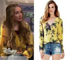 Girl Meets World: Season 2 Episode 24 Maya's Yellow Floral Wrap Top