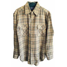 Tan Brown Plaid Pendleton Flannel Men's medium Authentic Pure virgin wool button up special style design womens winter holiday collared rad by VELVETMETALVINTAGE on Etsy