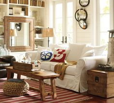 Neutral sofa, woods. Walls are too white, though. Pottery Barn
