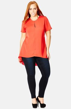 City Chic Keyhole Detail High/Low Top (Plus Size) available at #Nordstrom