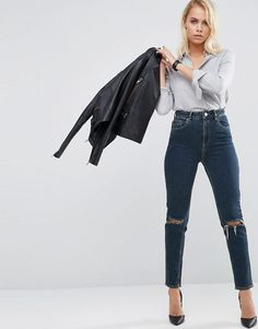 ASOS | ASOS FARLEIGH Slim Mom Jeans In Delphine Darkwash with Busted Knees