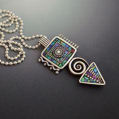 Sterling silver geometric triangle square swirl by LizardsJewelry Enamel Jewelry, Metal Jewelry, Jewelry Art, Silver Jewelry, Bijoux Design, Jewelry Design, Gold Brooches, Pendant Design, Jewelry Making Tutorials