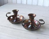 Pair of Vintage Copper Brass Candleholders Candlesticks with maple leaf cutouts
