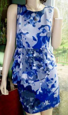 Love 21 purple&blue color splash Peplum sleeveless dress size XS NWOT #Love21 #Peplum #Clubwear
