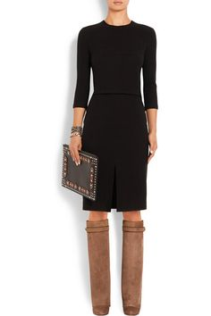 Givenchy | Shark Lock wedge suede knee boots | NET-A-PORTER.COM