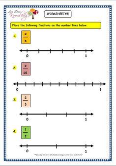 Grade 3 Maths Worksheets: (7.2 Making Fractions on the Number Line) - Lets Share Knowledge 3rd Grade Fractions, 3rd Grade Math Worksheets, Fractions Worksheets, Math Fractions, Printable Worksheets, Maths, Numbers Kindergarten, Math Numbers, Line Math