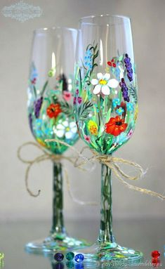"""The Glasses """"Summer Pleasure"""". Painting - buy or order in an online shop on Livemaster Painting Glass Jars, Painted Glass Bottles, Glass Painting Designs, Bottle Painting, Glass Art, Cut Glass, Diy Wine Glasses, Hand Painted Wine Glasses, Painting On Wine Glasses"""