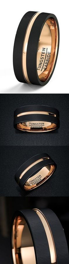 Diamond Rings : Mens Wedding Band Black Tungsten Ring 8mm Rose Gold Inside Matted Brushed Surfac