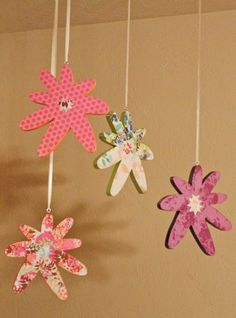 Easy DIY decor for a little girls room or nursery.  Paint precut wood, decopauge scrapbook paper, clear coat, add a hook and ribbon.  http://www.facebook.com/pages/Live-Simply-Get-Crafty/300457426664806
