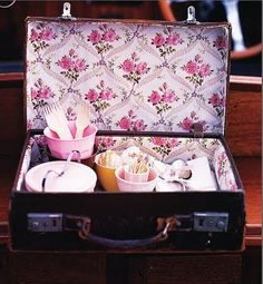 floral wallpaper lining trunk