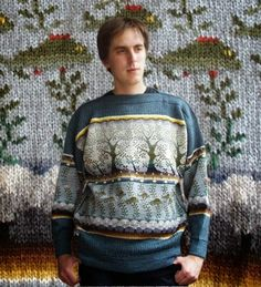 . . . Kaislakerttu Lehtovaara - Maalauksia . . .: Neuleet Fair Isle Knitting Patterns, Knitting Designs, Handgestrickte Pullover, Hand Knitted Sweaters, Hand Knitting, Knitwear, Knit Crochet, Men Sweater, Graphic Sweatshirt