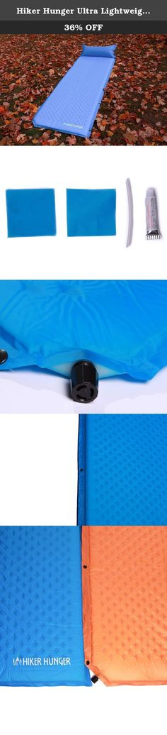 Hiker Hunger Ultra Lightweight Self Inflating Sleeping Pad with attached Pillow - Built for Backpacking, Camping, Hiking, Hammocks, Tents, and More! (Blue). We grew tired of having to choose between inexpensive pads made with cheap materials and over priced pads so we decided it was time to create the highest quality pad and offer a great price! We make our outdoor products for everyone to enjoy: thru hikers, day campers, backpackers, boy and girl scouts, and everyone in between. Our...