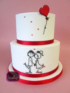 Smaller version of my cute couple cake - all details piped by hand with royal icing
