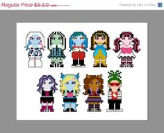 Monster High Pixel People Character (Abbey Bominables, Frankie Stein, Ghoulia Yelps, Cleo de Nile, Draculara, Spectra Vondergeist, Lagoona Blue, Clawdeen Wolf, Deuce Gorgon) PDF pattern by CheekySharkLabs,