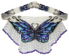 Butterfly Bugle Weave Fringe Necklace : Beading Patterns and kits by Dragon!, The art of beading. Beaded Necklace Patterns, Necklace Designs, Beaded Earrings, Necklace Packaging, Beading Patterns Free, Seed Bead Jewelry, Beading Jewelry, Beaded Crafts, Fringe Necklace