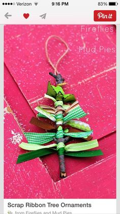Clear out your ribbon stash with these adorable Ribbon Tree Homemade Christmas Ornaments. Simple DIY Christmas ornaments like these will make Christmas fun! Noel Christmas, Christmas Crafts For Kids, Xmas Crafts, Diy Christmas Ornaments, Christmas Projects, Winter Christmas, Homemade Ornaments, Ornaments Ideas, Christmas Ideas