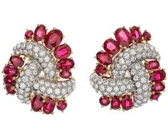 Valentin Magro Ruby and Diamond Cluster Earrings