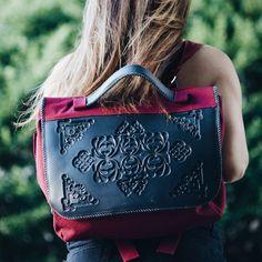 Poly Backpack - Black/Burgandy   MeDusa. We're loving the backpack trend! #SchoolGirl #MeDusa #Vegan