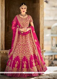 Sunshine Magenta Patch Border Work Art Silk A Line Lehenga Choli Model: YOLEN3322