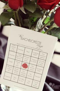 Bachelorette Viewing Party - Bingo. Free printable on PartiesforPennies.com