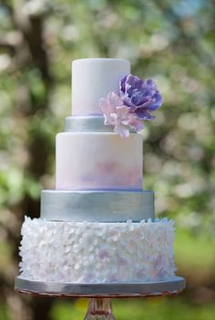 love this lavender watercolor inspired cake photographed by This Is Photography and designed by City Girl Cakes