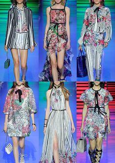 Elie_Saab_SS16_Paris_Womens_Catwalk_Vogue - Rich Candy Stripes – Soft Toned Florals – Macramé Lace – Floral Printed Broderie Anglaise – Drawn Flowers – Dark Outlines – Guipure