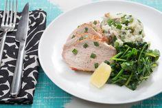 Roast Pork with Sautéed Spinach & Olive Smashed Potatoes