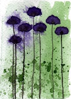 Watercolor Painting: Watercolor Flower Painting -- Mini Art Print -- Break Away -- Purple Flowers -- ACEO Print Watercolor Flowers, Watercolor Paintings, Watercolors, Watercolor Ideas, Dark Purple Flowers, Green And Purple, Art For Art Sake, Art Plastique, Types Of Art