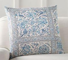 "NEW Pottery Barn Viola Block Print Pillow Cover 24/"" Neutral"