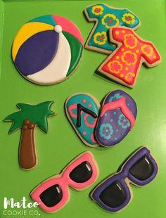 Summer Themed Decorated Cookies (beach balls, Hawaiian shirts, flip flops, palm trees, sunglasses) mateocookieco.com