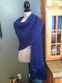 Ravelry: Chunky Lace Prayer Shawl pattern by Louis Chicquette Crochet Prayer Shawls, Crochet Shawls And Wraps, Knitted Shawls, Crochet Scarves, Chunky Crochet, Knit Or Crochet, Crochet Hats, Prayer Shawl Patterns, Loom Knitting