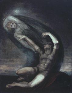 """""""Achilles Grasps at the Shade of Patroclus"""" by  Henry Fuseli  (1803)  """"Mas aproxima-te de mim. Embora por pouco tempo, abracemo-nos um ao outro no prazer do triste pranto.  Assim falando, estendeu os seus braços, mas não logrou agarrá-lo. Como um sopro de fumo, o fantasma partiu para debaixo da terra, balbuciando."""" Ilíada - Canto XXII, 97-101"""