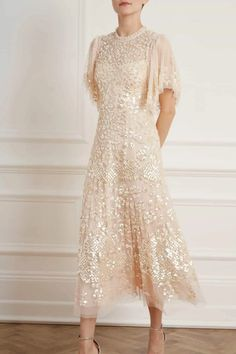 New Season Honesty Flower Long Sleeve Dress - Exclusive in Meadow Yellow. Shop the new collection. Sequin Midi Dress, Pink Midi Dress, Embellished Dress, Dress Up, Embroidered Lace, Floral Embroidery, Engagement Dresses, Wedding Dresses, Flora Dress